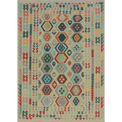 Rucker Kilim Hand Woven Wool Beige/Red Southwestern Area Rug