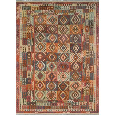 Vallejo Traditional Kilim Hand Woven 100% Wool Rectangle Beige Area Rug