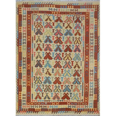 Vallejo Traditional Kilim Hand Woven 100% Wool Beige Area Rug