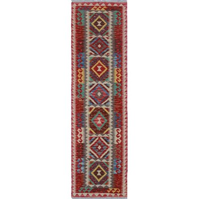 Vallejo Traditional Kilim Hand Woven Wool Red Area Rug