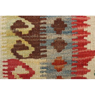 Vallejo Kilim Hand Woven Wool Beige/Red Fringe Area Rug