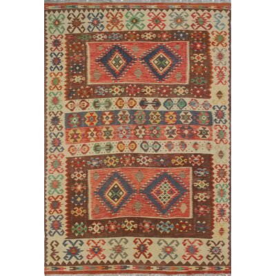 Rucker Traditional Kilim Hand Woven Wool Beige/Brown Area Rug