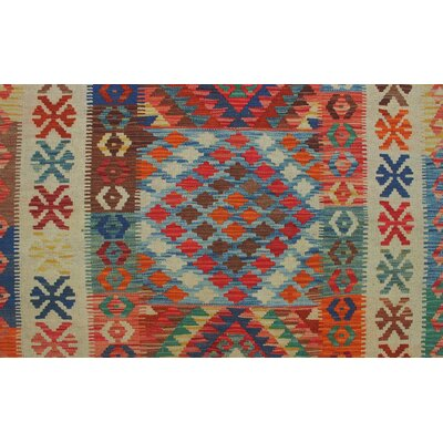 Rucker Kilim Hand Woven Wool Rectangle Beige Fringe Area Rug