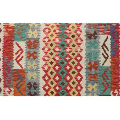 Vallejo Kilim Hand Woven Wool Gray/Red Area Rug
