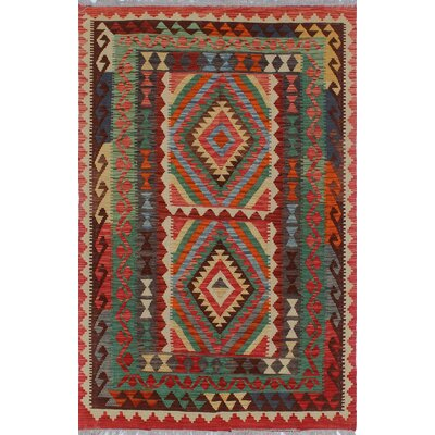 Vallejo Traditional Kilim Hand Woven Wool Rectangle Beige Southwestern Area Rug