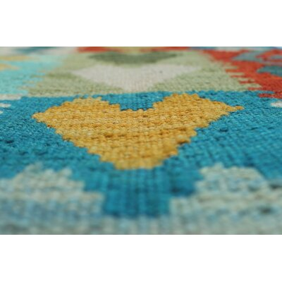 Vallejo Traditional Kilim Hand Woven Wool Blue Fringe Area Rug