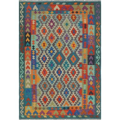 Vallejo Kilim Hand Woven Wool Blue Area Rug