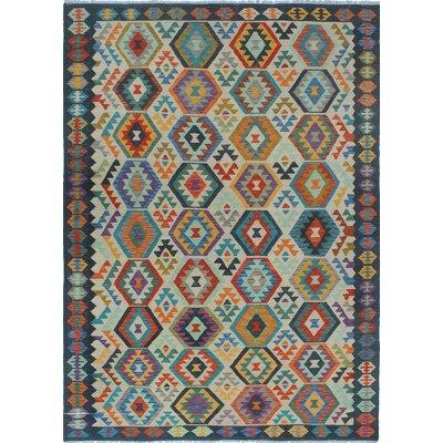 Vallejo Kilim Hand Woven Wool Beige/Gray Area Rug