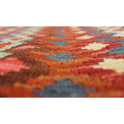 Rucker Kilim Hand Woven Wool Beige/Brown Fringe Area Rug