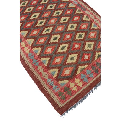Vallejo Kilim Hand Woven Wool Red/Brown Area Rug