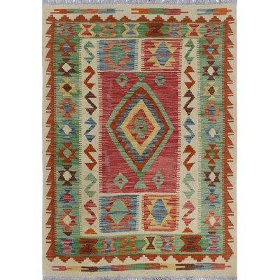Vallejo Traditional Kilim Hand Woven Premium Wool Beige Southwestern Area Rug