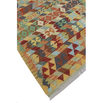Rucker Kilim Hand Woven Wool Rectangle Beige/Brown Area Rug
