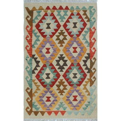 Vallejo Kilim Hand Woven 100% Wool Blue Fringe Area Rug