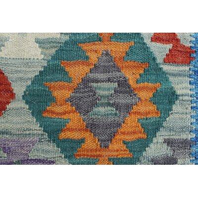 Vallejo Kilim Hand Woven 100% Wool Blue Southwestern Area Rug