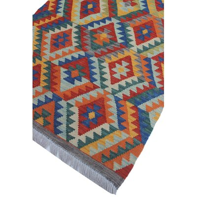 Vallejo Kilim Hand Woven Wool Rectangle Blue Area Rug