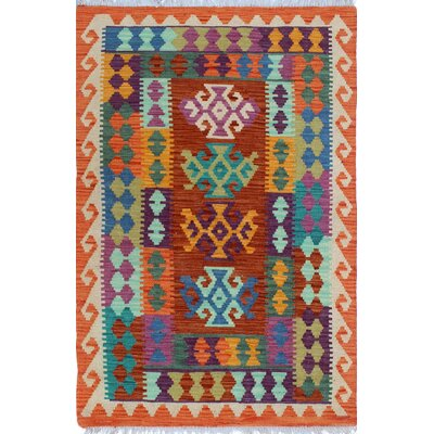Rucker Kilim Hand Woven Orange/Purple Area Rug