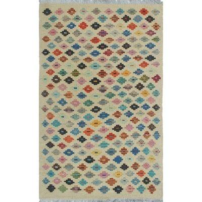 Vallejo Kilim Hand Woven Wool Rectangle Beige Southwestern Fringe Area Rug