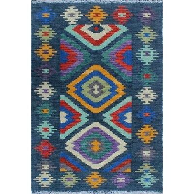 Vallejo Kilim Hand Woven Wool Blue Southwestern Fringe Area Rug