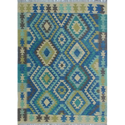 Vallejo Kilim Hand Woven Wool Blue/Gray Area Rug