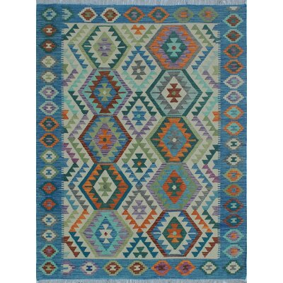 Rucker Kilim Hand Woven Wool Rectangle Blue Southwestern Fringe Area Rug