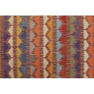 Rucker Kilim Hand Woven Wool Rust Fringe Area Rug