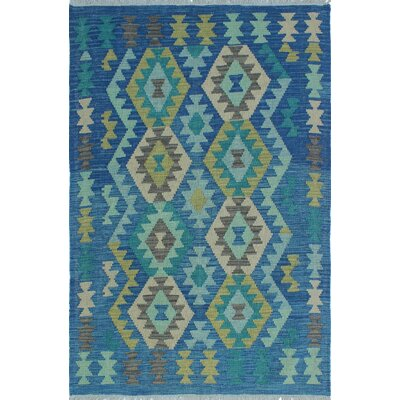Vallejo Traditional Kilim Hand Woven Wool Blue Southwestern Fringe Area Rug
