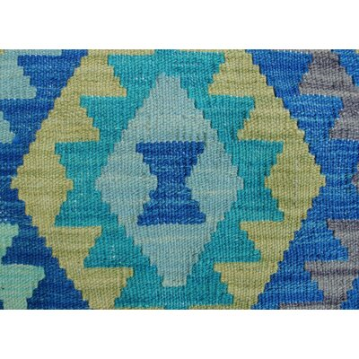 Rucker Kilim Hand Woven Wool Rectangle Blue Fringe Area Rug