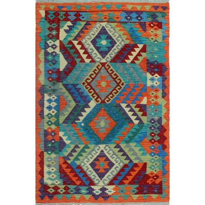 Rucker Kilim Hand Woven Wool Rectangle Blue/Orange Area Rug