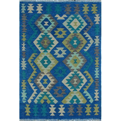 Vallejo Traditional Kilim Hand Woven Wool Rectangle Blue Area Rug