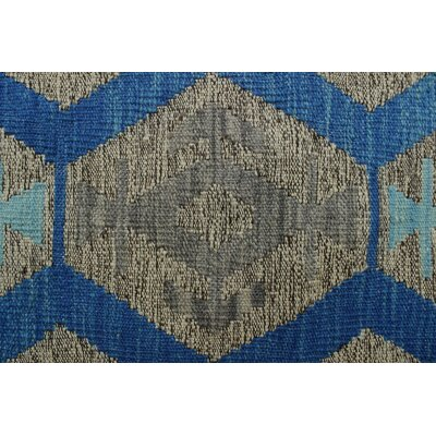 Vallejo Kilim Hand Woven Wool Rectangle Gray Fringe Area Rug