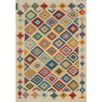 Vallejo Traditional Kilim Hand Woven 100% Wool Rectangle Beige Southwestern Area Rug