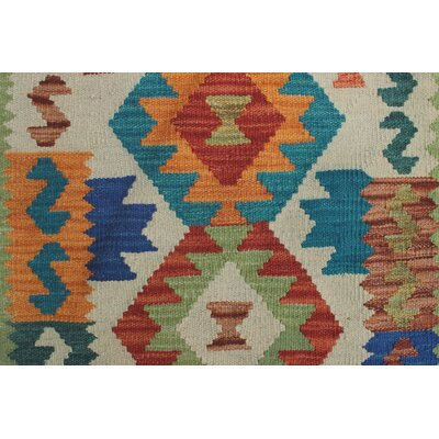 Vallejo Kilim Hand Woven Wool Green Area Rug