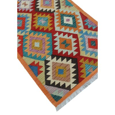 Vallejo Kilim Hand Woven Wool Red/Beige Area Rug