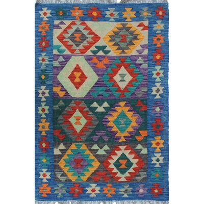 Vallejo Traditional Kilim Hand Woven 100% Wool Blue Area Rug