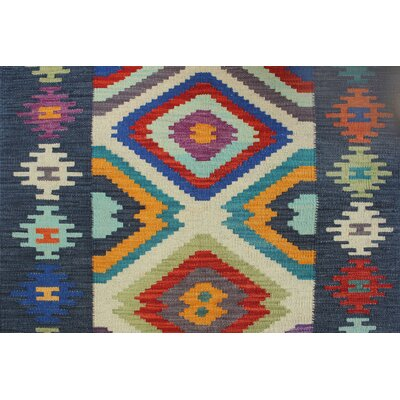 Vallejo Kilim Hand Woven Wool Blue/Red Southwestern Area Rug