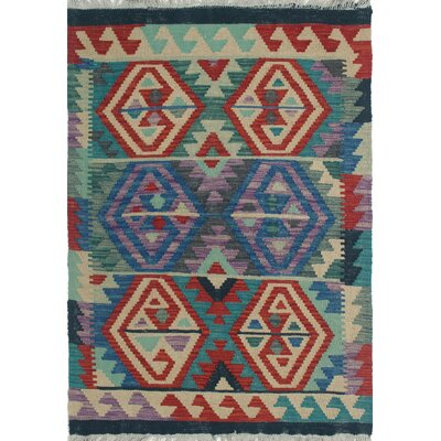Rucker Kilim Hand Knotted Wool Blue Area Rug