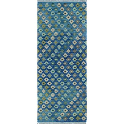 Cortez Kilim Hand Woven Wool Blue Area Rug