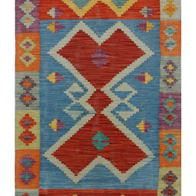 Rucker Kilim Hand Woven Wool Orange Fringe Area Rug