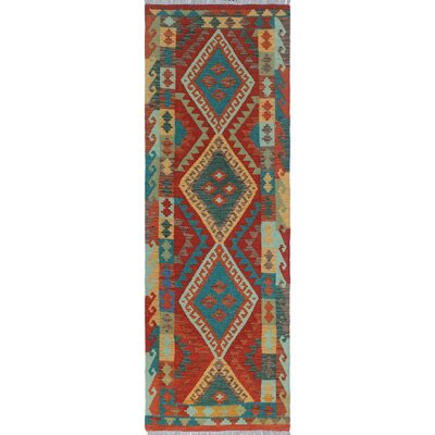 Vallejo Kilim Rusty Hand Woven Wool Red Area Rug