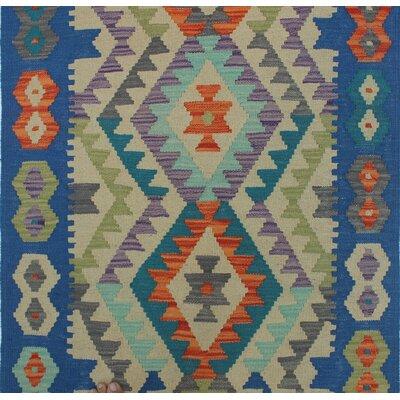 Vallejo Kilim Hand Woven Wool Blue/Beige Area Rug