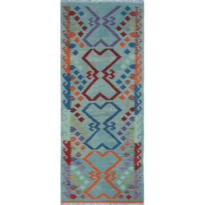 Vallejo Traditional Kilim Hand Woven 100% Wool Blue Fringe Area Rug