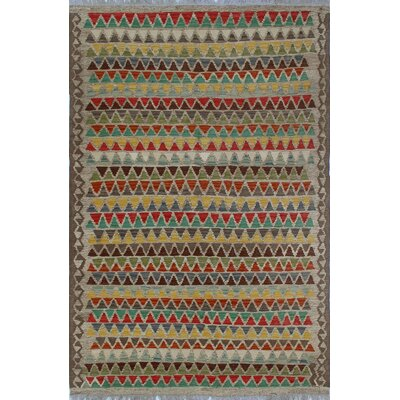 Vallejo Traditional Kilim Hand Woven Wool Gray Area Rug Rug Size: Rectangle 41 x 63