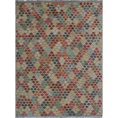 Rucker Kilim Hand Woven Wool Gray/Beige Area Rug