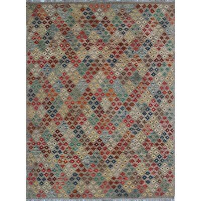 Vallejo Kilim Hand Woven Wool Gray/Beige Area Rug