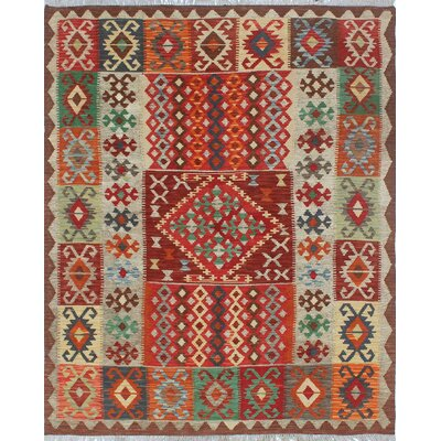 Rucker Kilim Hand Woven Premium Wool Beige/Red Area Rug