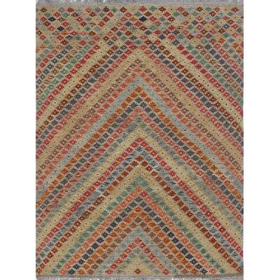 Rucker Kilim Hand Woven Wool Gray/Beige Southwestern Area Rug