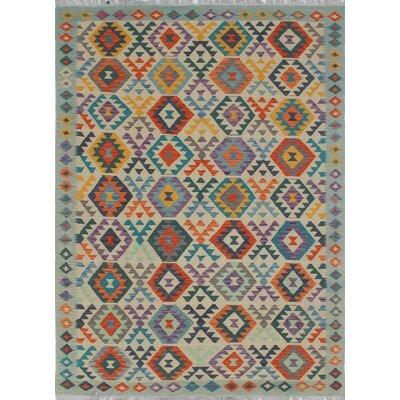Vallejo Kilim Hand Woven 100% Wool Beige Southwestern Fringe Area Rug