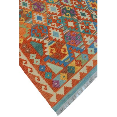 Vallejo Kilim Hand Woven Wool Rectangle Orange Area Rug
