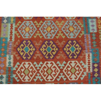Vallejo Kilim Hand Woven Wool Rectangle Rust Area Rug