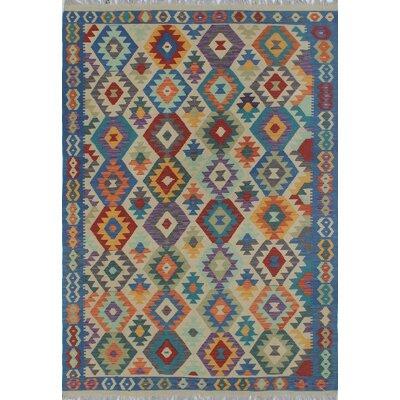 Rucker Kilim Hand Woven Wool Blue/Beige Southwestern Area Rug